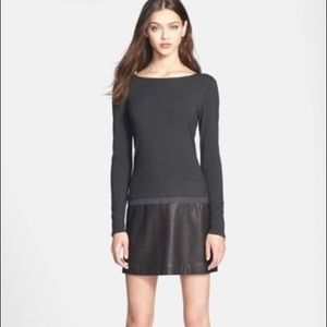 Theory Kieran leather accent dress long sleeve